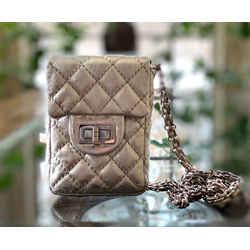 CHANEL Silver Quilted Calfskin Mini Crossbody Handbag