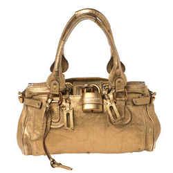 Chloe Golden Brown Grained Leather Medium Paddington Satchel