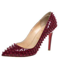 Christian Louboutin Red Patent Leather Pigalle Spikes Pointed Toe Pumps Size