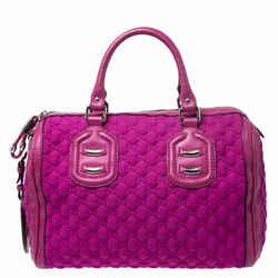Gucci Magenta Guccissima Neoprene and Leather Medium Techno Tag Boston Bag