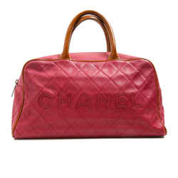 Chanel Cherry Red Caviar Leather Logo Bag W/ Patent Handles