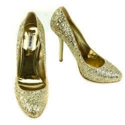 MIU MIU: Gold, Leather & Glitter Platform Heels/Pumps Sz: 9.5M