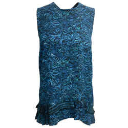 Proenza Schouler Turquoise Printed Georgette Sleeveless Silk Blouse