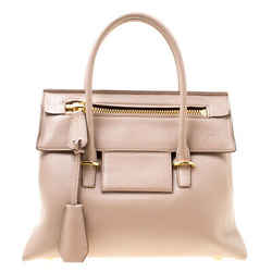 Tom Ford Beige Leather Icon Top Handle Bag