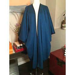 Saint Laurent Blue Wool Tassell Vintage Cape 369-128-8820