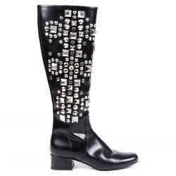 Saint Laurent Boots Black Leather Studded Knee High Sz 36
