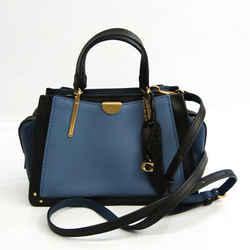 Coach Dreamer 35242 Women's Leather Handbag,Shoulder Bag Black,Blue BF532296