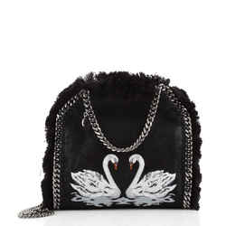 Falabella Fold Over Crossbody Bag Embroidered Shaggy Deer with Fringe Mini