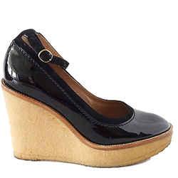 Yves Saint Laurent / Ysl Shoe Black Patent Crepe Wedge 38 /8