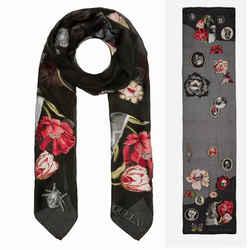 NEW $490 ALEXANDER MCQUEEN Black Silk GOTHIC VICTORIAN CURIOSITIES Long SCARF