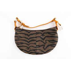Fendi Piccola Stoned Tiger Canvas Print Shoulder Bag