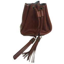 MOSCHINO CHEAP & CHIC Brown Leather Beaded Fringe Mini Bucket Bag Tote