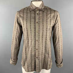 Kenzo Size L Brown Textured Cotton Button Up Long Sleeve Shirt