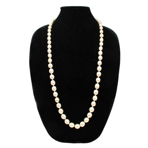 "Chanel Pearl Necklace 33"" Vintage 1980's White Gold W/ Original Box & Tag"
