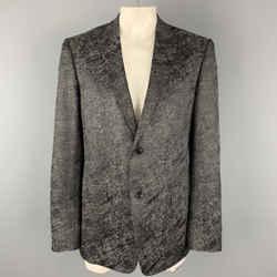 Versace Collection Size 44 Charcoal & Black Metallic Print Sport Coat