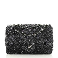 Chanel Flap Bag Sequin Quilted Satin Medium