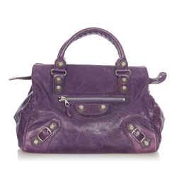 Vintage Authentic Balenciaga Purple Motocross Giant City Leather Handbag Italy