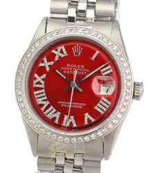 Rolex Mens Datejust Red Roman Diamond Dial Diamond Bezel approx 1.40CT