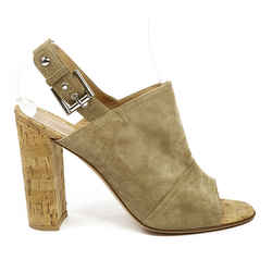 Gianvito Rossi Taupe Suede Open Toe Slingback Sandals