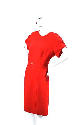 Escada Red Wool Short Sleeve Sheath Dress Sz  44
