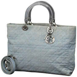Christian Dior      Quilted Denim Cannage Lady Dior 2way Tote 234591