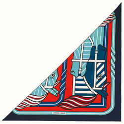 New Hermes Quadrige Bayadere Giant Triangle Pointe Twill Cl Rouge Marine Blanc Triangle Scarf