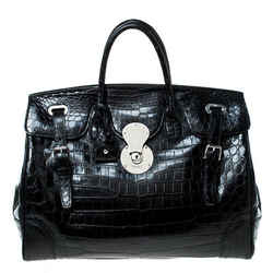 Ralph Lauren Black Alligator Ricky Tote