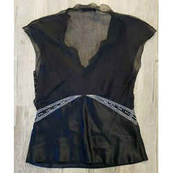 Alberta Ferretti Black Silk Camisole Top W/ Embroidery & Crystals - Size 4