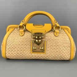 MIU MIU Bandoliera Natural Woven Straw Leather Shoulder Handbag
