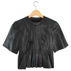 Alexander Wang Black Leather Pleated Short Sleeve Top - 0