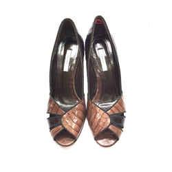 THEORY Brown Tan Croc Skin & Leather Peep-Toe Heel Pumps