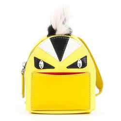 Fendi Keychain Micro Monster Backpack Yellow Leather