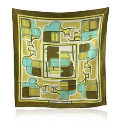 Hermes Vintage Green Silk Scarf Les Coupes De La Perierre 1970