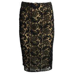 Prada Black & Tan Lace Skirt