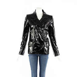 Chanel Jacket Vintage Black Patent Leather Fur Lined SZ 38