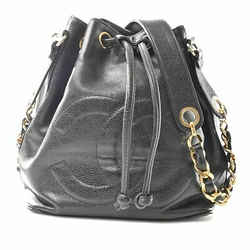 Auth Chanel Chanel Caviar Skin Deca Coco Mark Drawstring Shoulder Bag Black