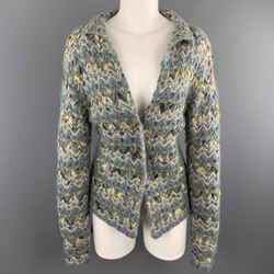 Tse Size M Blue & Green Woven Ribbon Knit Cardigan Jacket