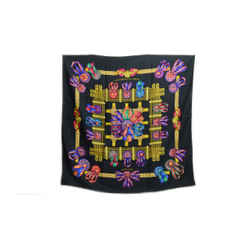 Hermes Authentic 100% Silk Scarf Les Rubans Du Cheval Black Multicolor Metz Vintage 90cm Carre