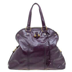 Saint Laurent Paris Purple Patent Leather Oversized Muse Tote