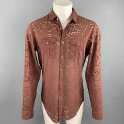 BURBERRY PRORSUM Size L Brown Eyelet Cotton Button Up Long Sleeve Shirt
