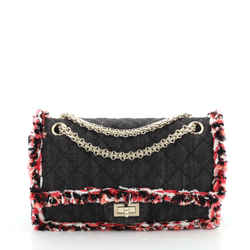 Reissue 2.55 Flap Bag Quilted Denim with Tweed Fringe 225