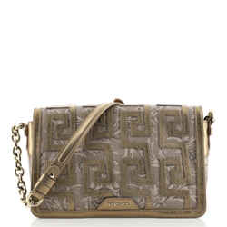 Greca Chain Flap Bag Printed Leather with Applique Medium