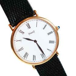 Piaget - Watch - Womens - Black Leather Wristwatch - Yellow Gold 9035