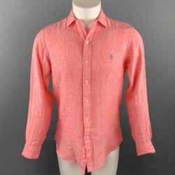 RALPH LAUREN Size S Salmon Heather Linen Button Up Long Sleeve Shirt