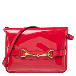 Gucci Raspberry Red Patent Leather Large Horsebit Shoulder Bag