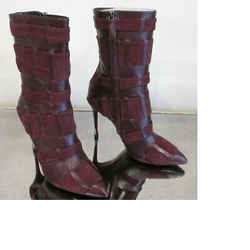 Tom Ford Wine Kid Leather And Suede Stiletto Boots/booties - Size 39