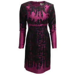 ERDEM Magenta / Black Long Sleeved Eyelet Formal Dress