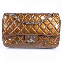 Chanel - Bronze Metallic Patent Leather Medium Double Flap Bag Quilted Silver Cc