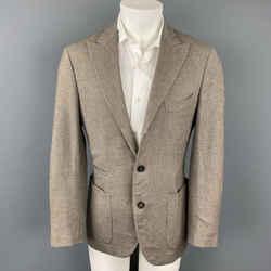 BRUNELLO CUCINELLI Size 38 Brown & Cream Twill Peak Lapel Sport Coat