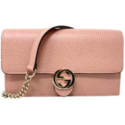 New Gucci Pink Leather Interlocking Gg Crossbody Wallet On Chain Bag Clutch